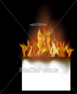 Burning White Paper Isolated On Black Background Stock Photo