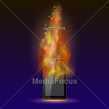 Burninng Tablet Computer With Fire Flame Isolated On Blue Background Stock Photo