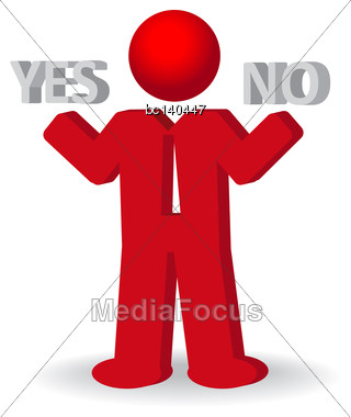"Busines Man, Person Presents ""yes"" And ""no"" Words, Vector Illustration Stock Photo"