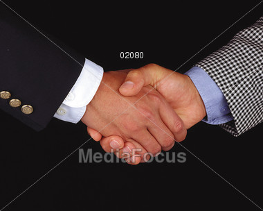 Business Handshake between Men Stock Photo