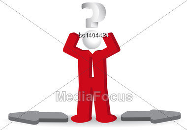 Business Man, Person And Question Mark And Arows. Confusion, Vector Illustration Stock Photo