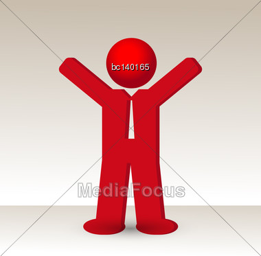 Business Man Raises His Arm Fist Up In Gesture Of Success, Vector Illustration Stock Photo