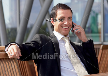 Business Man Talking On The Telephone Stock Photo