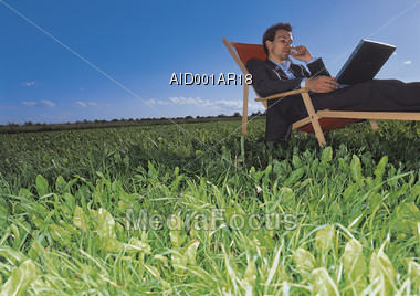 Business Man Working Outdoors Stock Photo