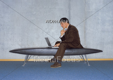 Business Professional Working With Laptop Stock Photo