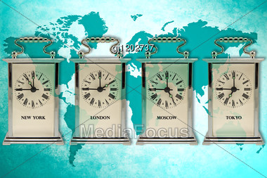 Business Travel Concept. Timezone Clocks Showing Different Time Stock Photo