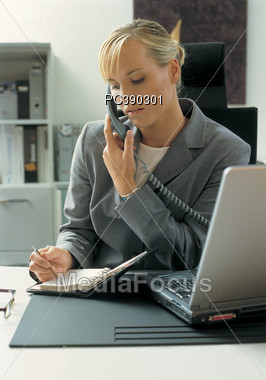 Business Woman Making Appointment Stock Photo
