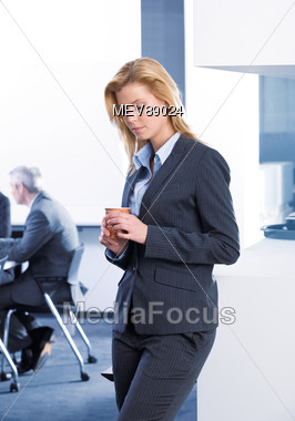 Business Woman with Coffee Cup Stock Photo