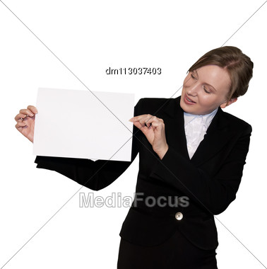 Business Women Shows A White Sheet Of Paper, Isolated On White Stock Photo