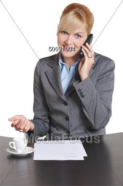 Business Women Talking On Cellular Phone Stock Photo