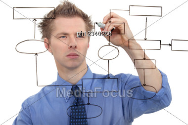 Businessman Drawing A Chart On The Screen Stock Photo