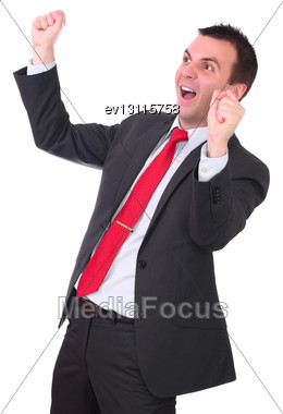 Businessman-feeling A Great Happy . Isolated Over White Stock Photo