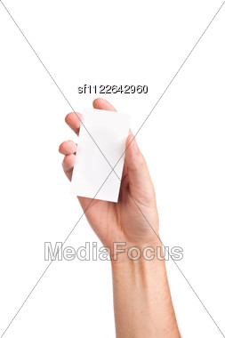 Businessman's Hand Holding Blank Paper Business Card, Closeup Stock Photo
