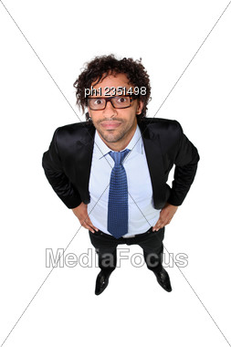 Businessman In Square Glasses Stock Photo