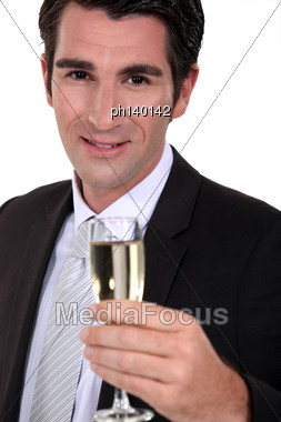 Businessman With Hampagne Stock Photo