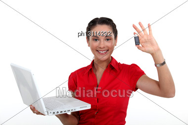 Businesswoman Backed-up Her Data Stock Photo