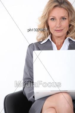 Businesswoman On Laptop Stock Photo