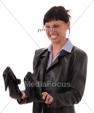 Businesswoman With Shoes Stock Photo