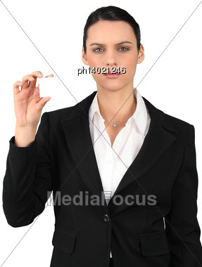 Businesswoman Showing Business Card For Message Stock Photo