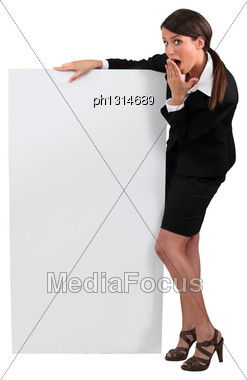 Businesswoman With Surprised Expression Stock Photo