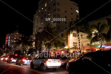 Busy Southbeach Traffic at Night - Miami, FL USA Stock Photo