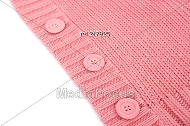 Buttons On Pink Sweater. Stock Photo