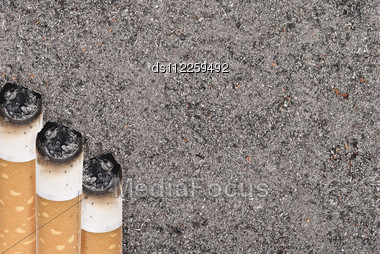 Butts Against The Tobacco Ash Stock Photo