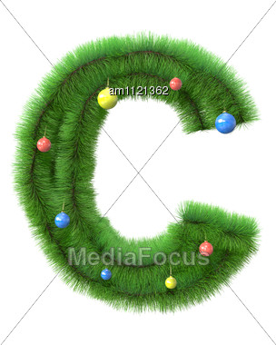 C Letter Made Of Christmas Tree Branches Stock Photo