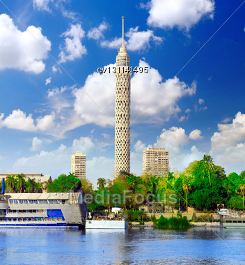 Cairo TV Tower On Seafront Of Nile. Egypt Stock Photo