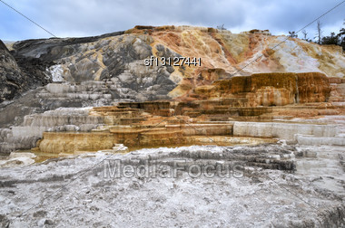 Calcite Terrace At Mammoth Hot Springs In Yellowstone National Park Stock Photo