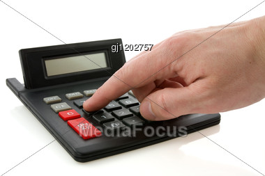 Calculator And Hand Stock Photo