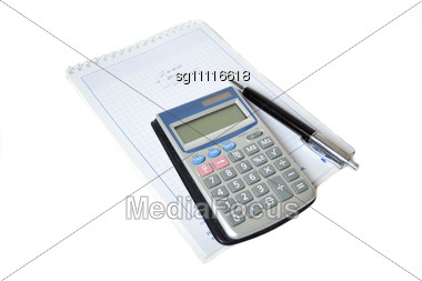 Calculator And Pen In The Background Scheduler Stock Photo