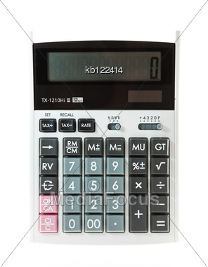 Calculator On White Background Isolate Stock Photo