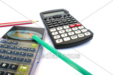 Calculators And Pencils Stock Photo