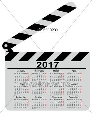 Calendar For 2017 Movie Clapper Board Vector Illustration Stock Photo