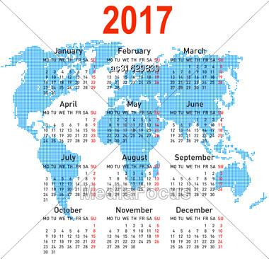 Calendar 2017 With World Map. Week Starts On Monday Stock Photo