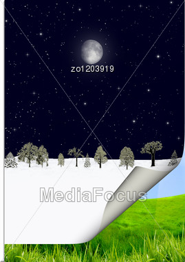 Calendar In The Nature. Winter And Summer Stock Photo