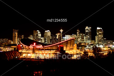 Calgary Alberta Canada Skyline Major City Saddledome Night Photograph Stock Photo