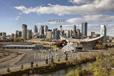 Calgary Alberta Canada Skyline Major City Saddledome Stock Photo