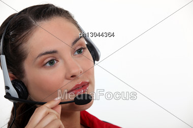 Call Center Agent Taking A Call Stock Photo