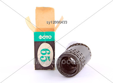 Camera Film With Packing Stock Photo