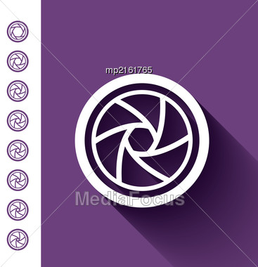 Camera Shutter Vector Illustration In Flat Style Stock Photo