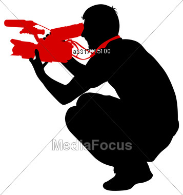Cameraman With Video Camera. Silhouettes On White Background. Vector Illustration Stock Photo