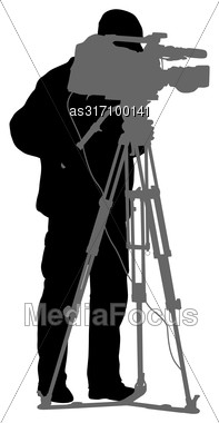Cameraman With Video Camera. Silhouettes On White Background Stock Photo