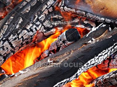 Camp Fire Close Up Outdoors, High Resolutiob Stock Photo