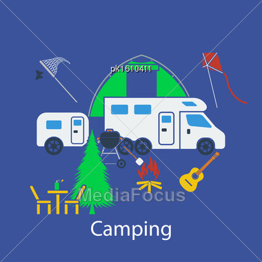 Camping Flat Design In UI Colors. Vector Illustration Stock Photo