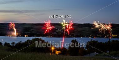 Canada Day Fireworks Buffalo Pound Lake Saskatchewan Stock Photo