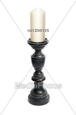 Candlestick With Candle Isolated Stock Photo