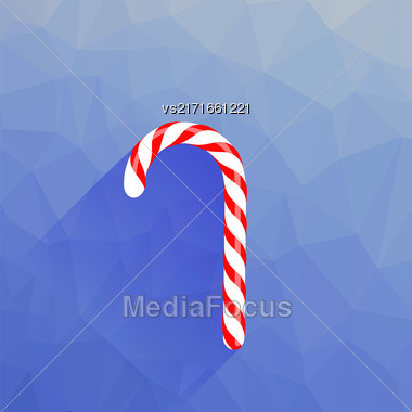 Candy Cane Icon Isolated On Blue Polygonal Background Stock Photo