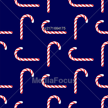 Candy Cane Seamless Pattern On Blue Background Stock Photo